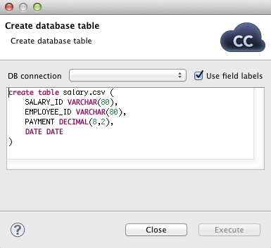 Creating Database Table from Metadata and Database Connection
