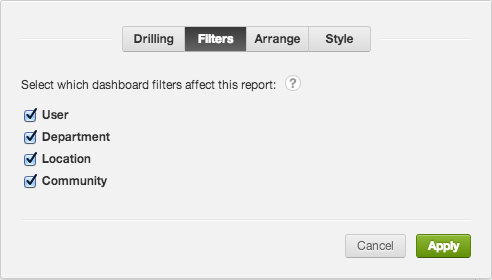 Use the Gear icon options to configure the dashboard filters applied to a selected report.