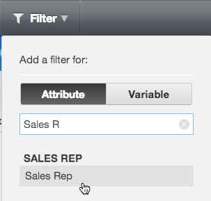 Select an attribute's name to create a new attribute filter.