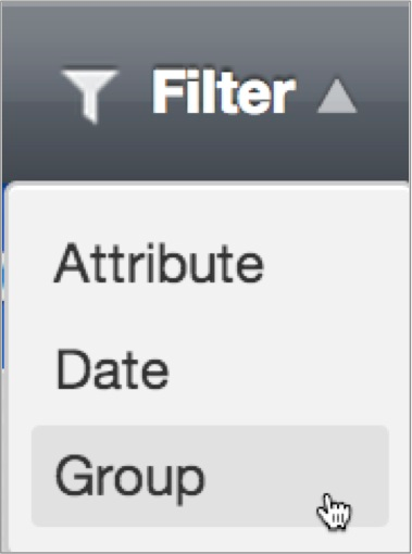 Group appears alongside the other filter types in the Filter menu