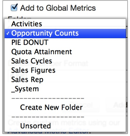 Add global metrics to a folder so they are easy to locate later.